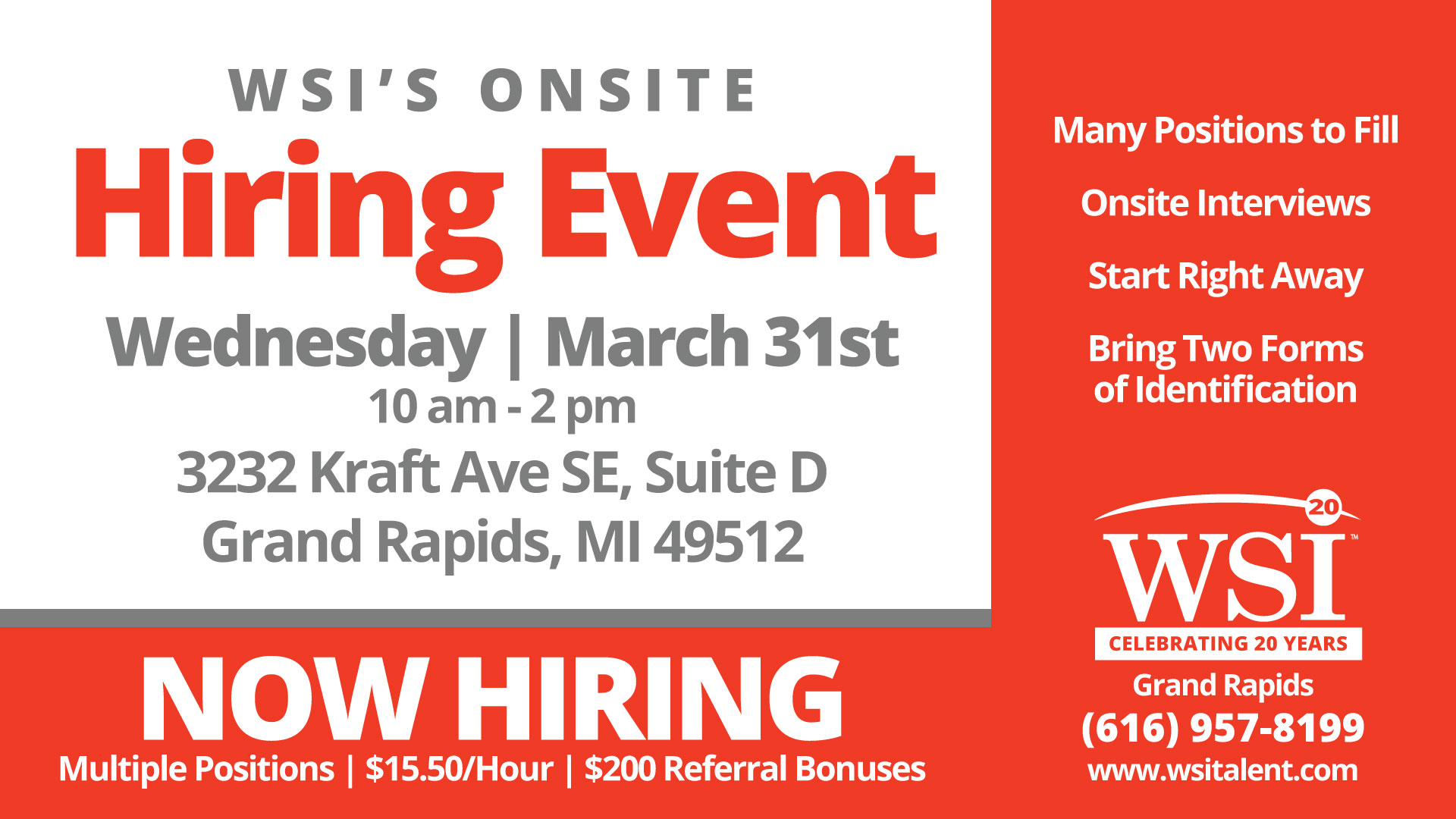 WSI Grand Rapids Onsite Hiring Event